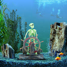 skeleton on toilet air aquarium ornament for fish tank ebay