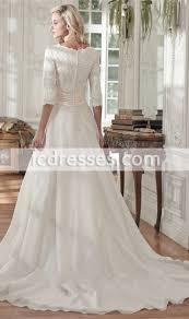 modest lace half sleeves v neck chiffon princess wedding dresses