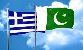Greece Flag Colors Greece Flag With Pakistan Flag 3d Rendering Stock Photo Picture