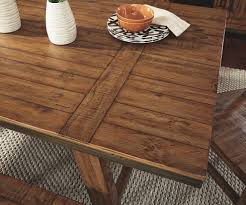 dondie rectangular dining room table corporate website of ashley distinct plank style detailed dining room table top framed in metal edging