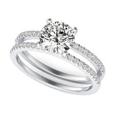 wedding ring with two bands split band diamond engagement ring sku rd0059