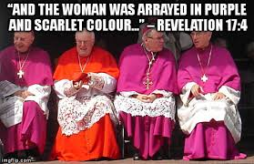 and the woman was arrayed in purple and scarlet colour
