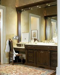 Oriental Bathroom Vanity Dual Vanity With Makeup Counter Bathroom Traditional With