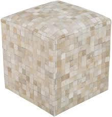 leather cowhide pouf cube ottoman light checkerboard scenario home