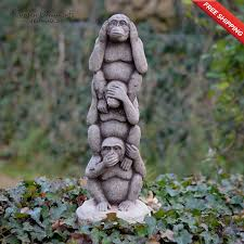 wise monkey totem pole garden ornament onefold uk