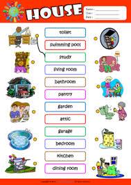 parts of a house esl matching exercise worksheet for kids enkku