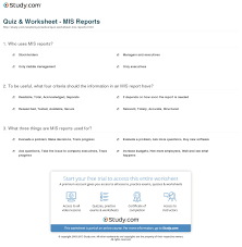 quiz u0026 worksheet mis reports study com