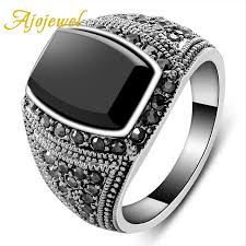 aliexpress buy mens rings black precious stones real aliexpress buy ajojewel 7 10 cool men jewelry classic big
