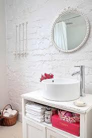 Bathroom White Brick Tiles - bathroom amusing brick bathrooms with round wall mirror classic