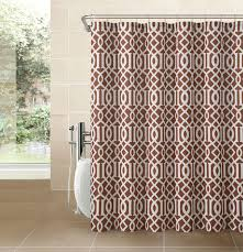 Cloth Shower Curtains Cinnamon Rust Fabric Shower Curtain Imperial Trellis Design