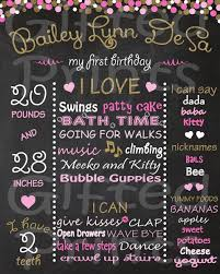 1st birthday chalkboard birthday chalkboard pink and gold confetti theme