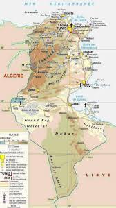 tunisia physical map map tunisia
