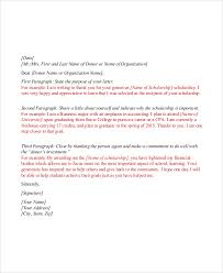 sample scholarship thank you letter 7 documents in pdf word