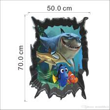 3d finding nemo cartoon throug wall stickers for kids rooms baby