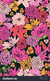 floral pattern handdrawn flowers brightlycolored seamless stock