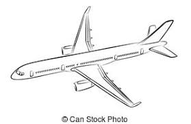 clip art vector of sketch passenger aircraft sketch of a