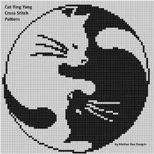 cat ying yang cross stitch pattern cross stitch patterns stitch