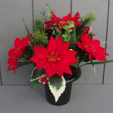 artificial poinsettia and grave pot permabloom