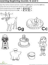 beginning sounds g and c worksheet education com
