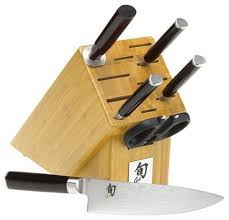 shun classic 6 piece knife set with bamboo block asian knife