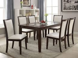 acme 71910 eastfall 7pcs glass insert espresso dining table set