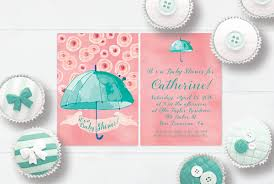 coral baby shower mint coral pink watercolor umbrella baby shower invitations