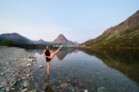 Mountain Backdrop Woman Doing Yoga In Water Huge Mountain Backdrop Tony Bynum