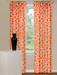 Orange And White Curtains Modern Curtain Panel In Orange And White