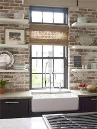 exposed brick kitchen backsplash home design ideas and inspiration