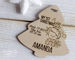 Personalised Baby S First Christmas Wooden Tree Decoration by Baby U0027s First Christmas Card U0026 Acrylic Perspex Tree