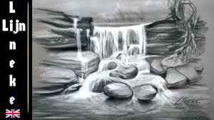drawing a waterfall in charcoal and white pastel very easy youtube