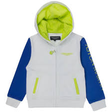 lime green aston martin aston martin junior boys white hoodie with blue and lime green