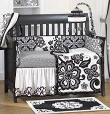 Black And White Crib Bedding Sets Elsa 5 Crib Bedding Set With Bumper By Cocalo