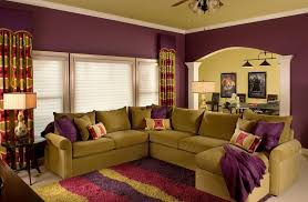Purple Livingroom by Living Room With Chandelier And Green Wall Color House Interior