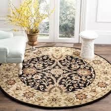 Round Table Kerman Lnr Home Adana Black Cream Oriental Area Rug 4 U0027 Round 4