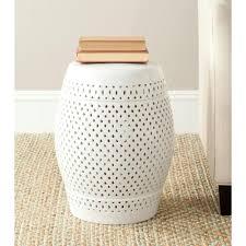 safavieh diamond white ceramic patio stool acs4507a the home depot