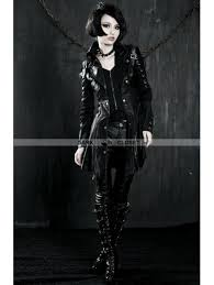 Long Trench Coats For Women Punk Rave Black Long Sleeves Leather Gothic Trench Coat For Women