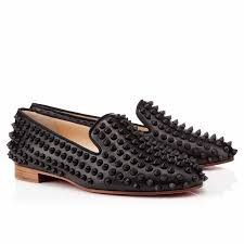 classic christian louboutin rolling spikes red suede gold studded