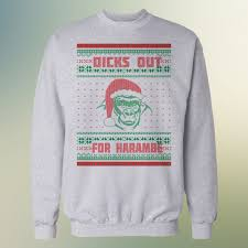 out for harambe ugly christmas sweater