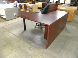 Used L Shaped Desk L Shape Laminate Desk With Peninsula Bullet Front Mahogany