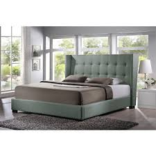 baxton studio favela queen size platform bed with upholstered