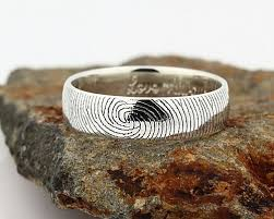 fingerprint wedding bands your custom fingerprint ring sterling silver engraving wedding