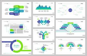 Ten Workflow Slide Templates Set Vector Free Download Slide Templates