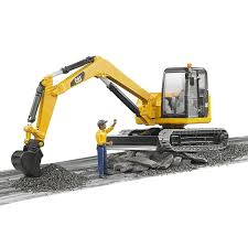 bruder excavator bruder toys caterpillar mini excavator with working arm and worker