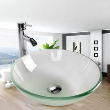 Clear Glass Bathroom Sinks - frosted vessel sink ebay
