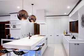 modern white kitchen decoration using black ball mirrored modern
