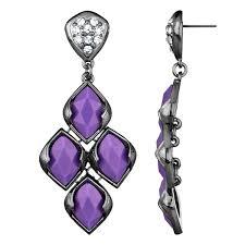 purple earrings drita s gunmetal purple chandelier earrings