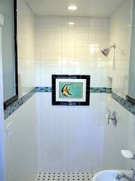 modern bathroom picture with blue sky mosaic tile home available
