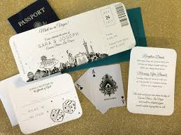 las vegas wedding invitations las vegas skyline plane ticket wedding invitation destination