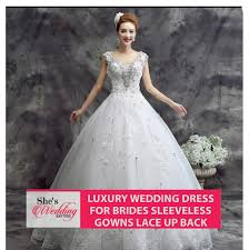 buy luxury lace wedding dress malaysia sleeveless gowns lace up